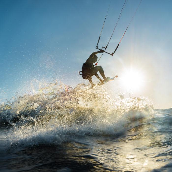 Kite surf at sunset